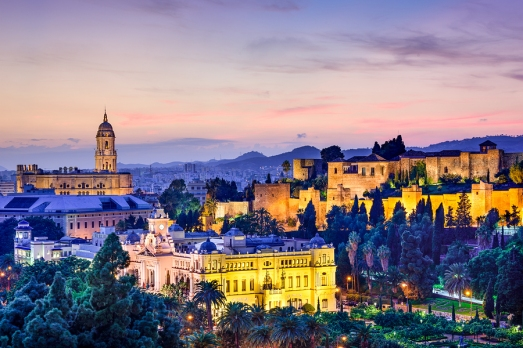 Malaga, Spain cityscape at the Cathedral, City Hall and Alcazaba