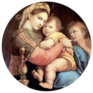 Madonna della Seggiola by Raphael. Now in the Pitti Palace in Florence