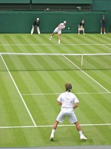 Wimbledon England - Rodger Federer vs. Richard Gasquet. June 26th 2006 1st Round. Federer went on to win the Match and the Wimbledon Title.