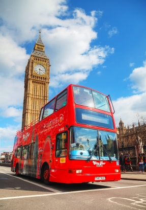 LONDON - APRIL 5: Iconic red double decker bus on April 5 2015 in London UK. The London Bus is one of London's principal icons the archetypal red rear-entrance Routemaster recognised worldwide.