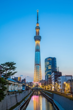 TOKYO - May 25 :View of Tokyo Sky Tree (634m) at night, the highest free-standing structure in Japan and 2nd in the world with over 10million visitors each year on May 25 , 2015 in Tokyo Japan