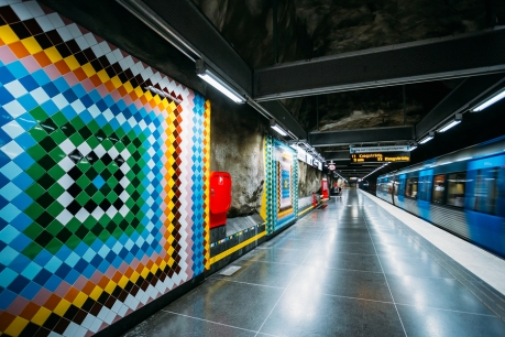 STOCKHOLM, SWEDEN - JULY 30, 2014: Modern Stockholm Metro Train Station in Blue colors, Sweden. Underground