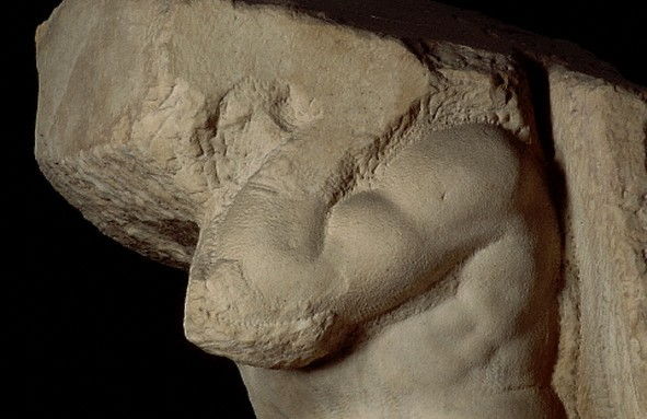Detail of Atlas Captive by Michelangelo