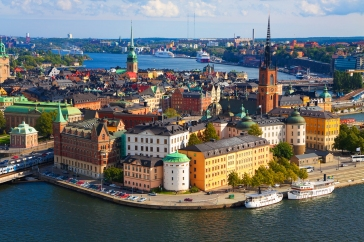Wide scenic panorama of the Old Town in Stockholm, Sweden