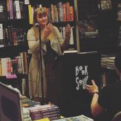 Speaking at Book Soup Oil and marble