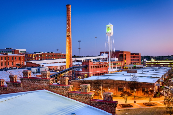DURHAM, NORTH CAROLINA - MARCH 28, 2015: The American Tobacco Hi