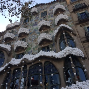 snow on casa batllo gaudi