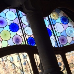 stained glass in casa batllo gaudi