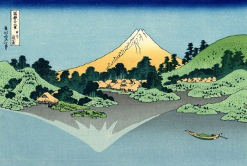 The_Fuji_reflects_in_Lake_Kawaguchi,_seen_from_the_Misaka_pass_in_the_Kai_province